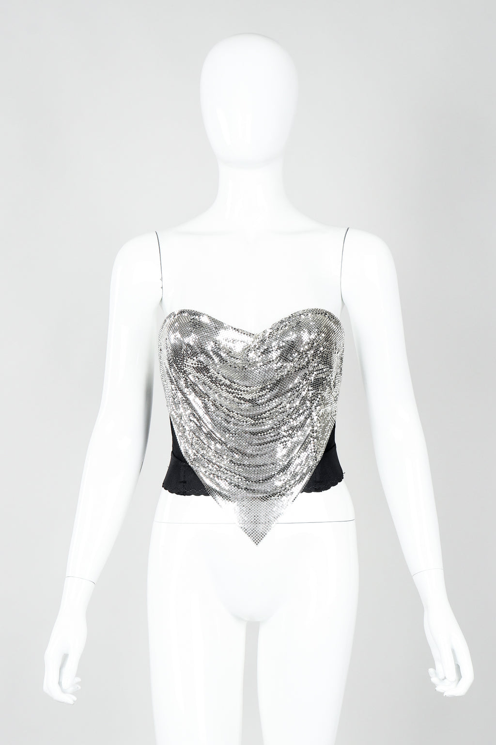 Vintage Ferrara Liquid Mesh Bustier on Mannequin front at Recess Los Angeles