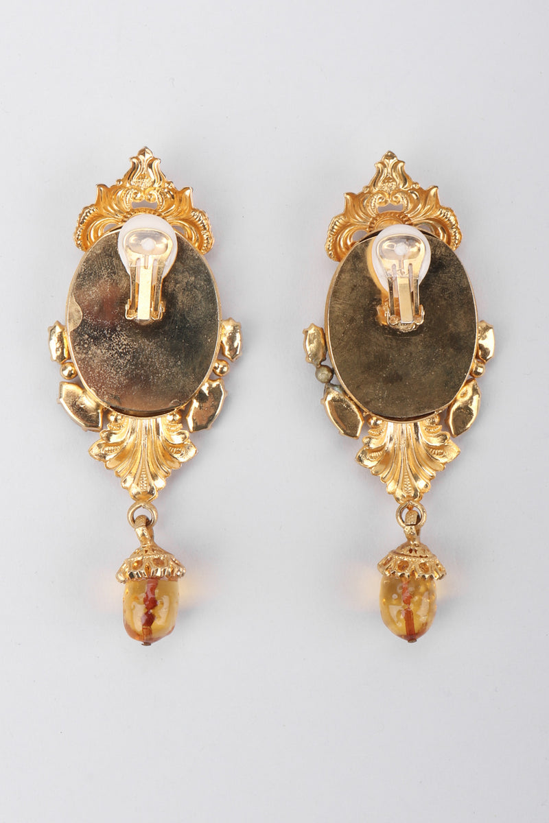 Recess Los Angeles Vintage Gianfranco Ferre Baroque Relief Portrait Cameo Frame Drop Earrings