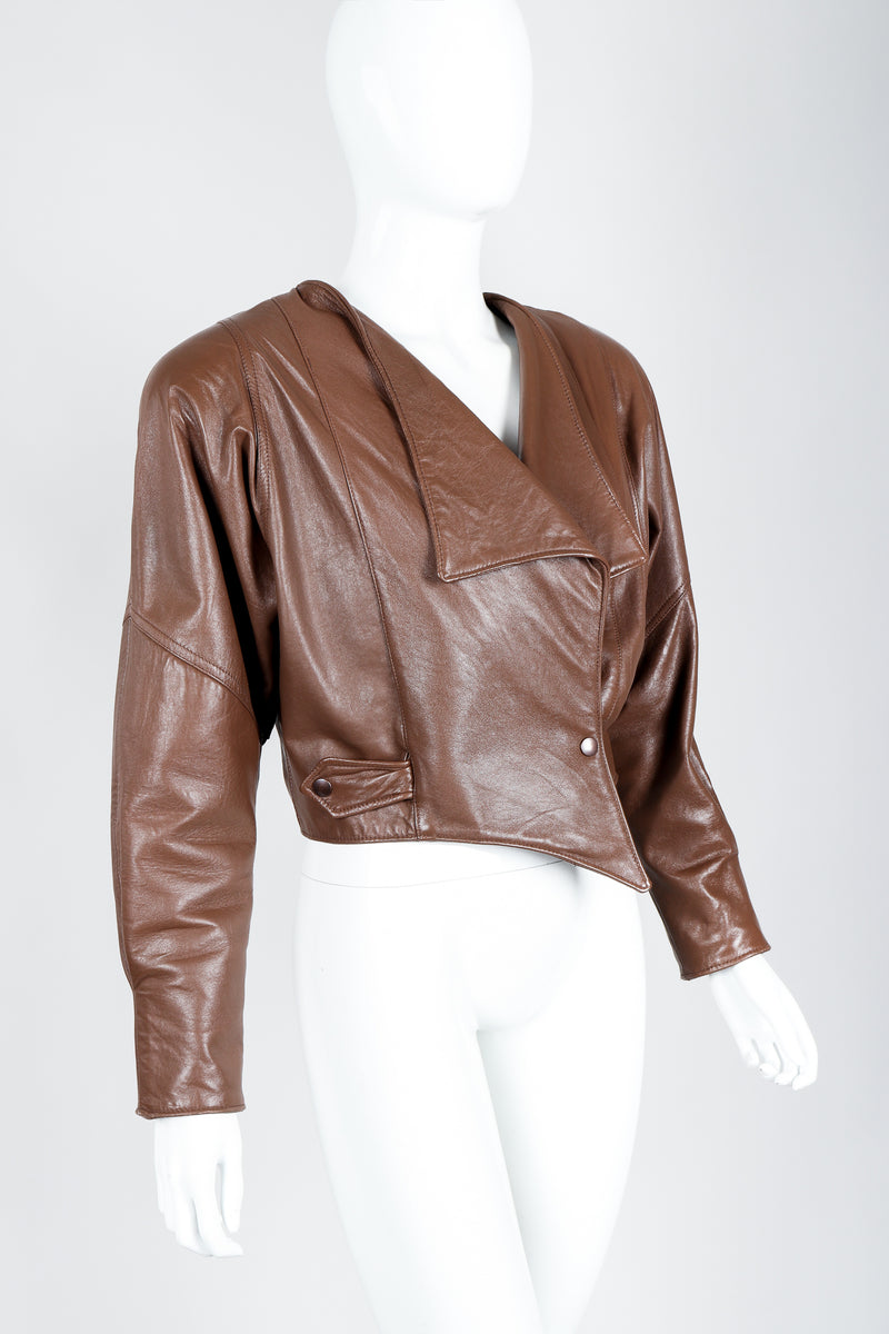 Vintage Firenze Santa Barbara Leather Utility Jacket on Mannequin crop at Recess