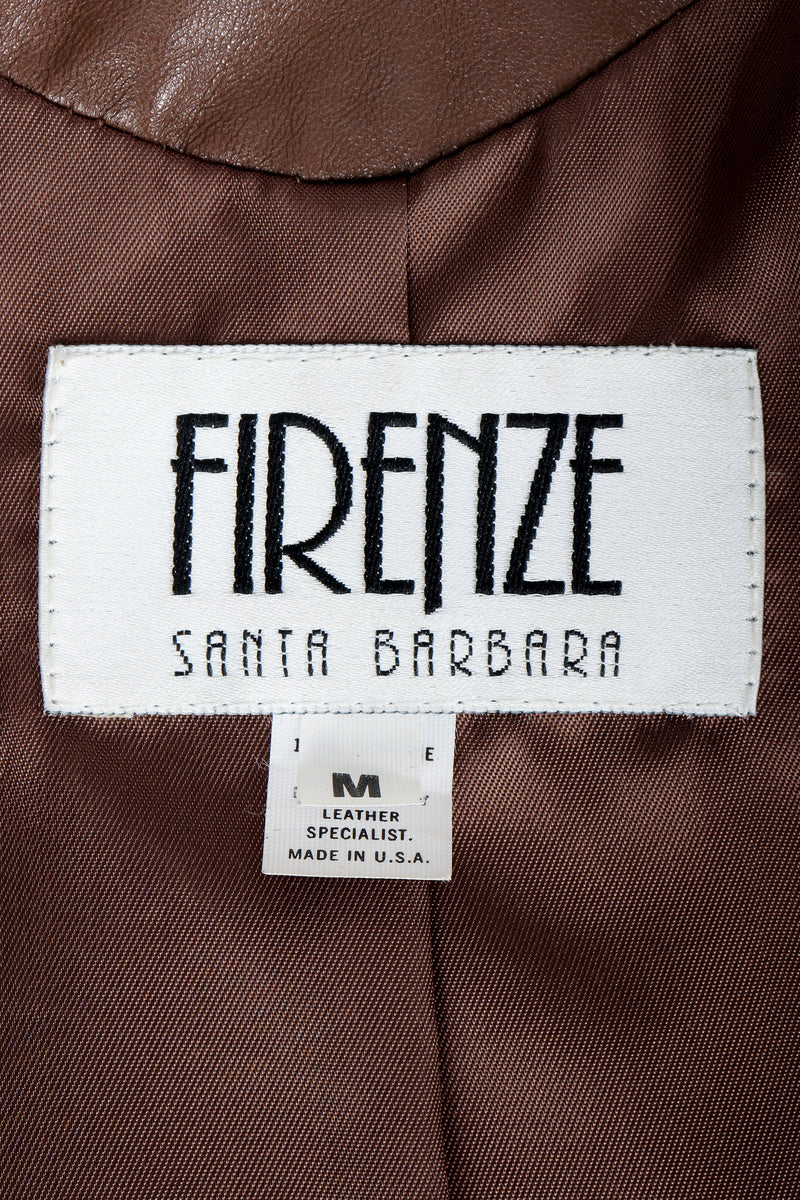 Vintage Firenze Santa Barbara Label on olive brown