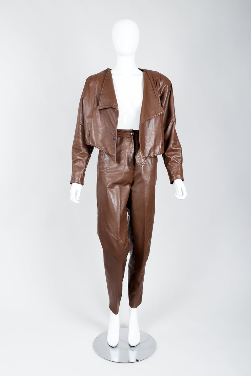 Vintage Firenze Santa Barbara Leather Utility Jacket & Pant Set on Mannequin open at Recess