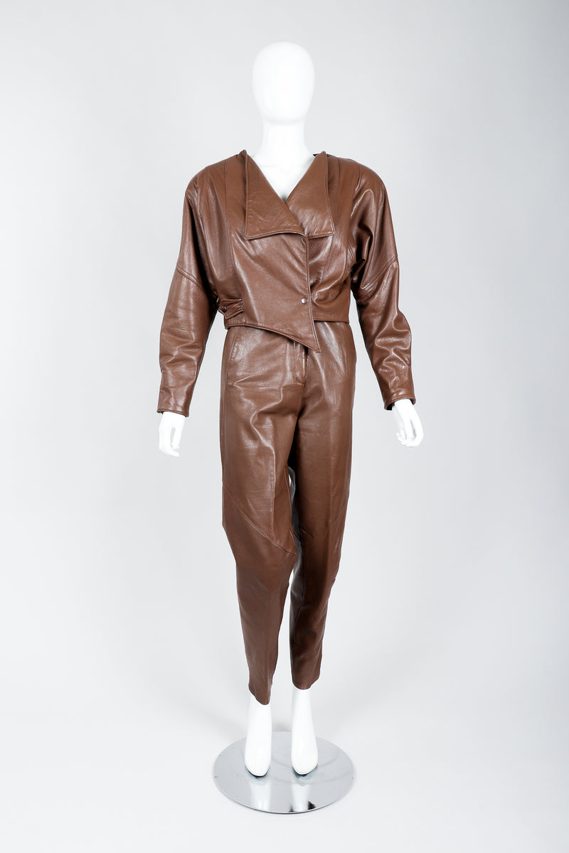 Vintage Firenze Santa Barbara Leather Utility Jacket & Pant Set on Mannequin front at Recess