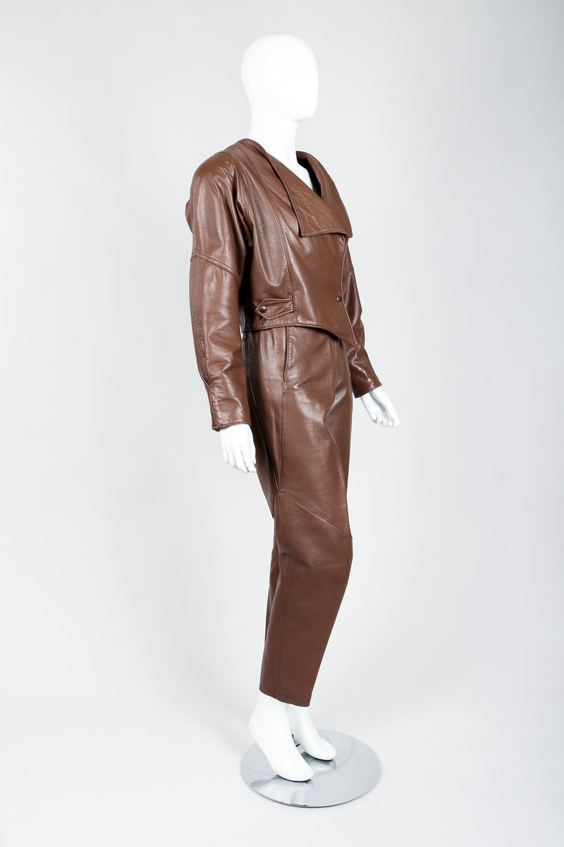 Vintage Firenze Santa Barbara Leather Utility Jacket & Pant Set on Mannequin side at Recess
