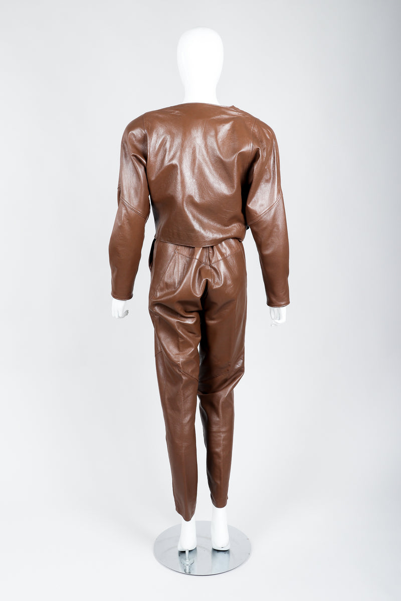 Vintage Firenze Santa Barbara Leather Utility Jacket & Pant Set on Mannequin back at Recess