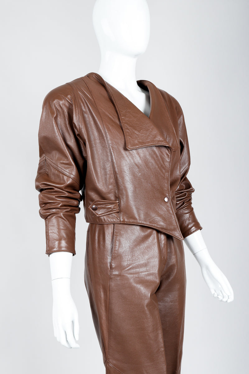 Vintage Firenze Santa Barbara Leather Utility Jacket & Pant Set on Mannequin angled at Recess