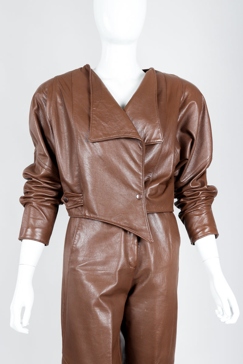 Vintage Firenze Santa Barbara Leather Utility Jacket & Pant Set on Mannequin crop at Recess