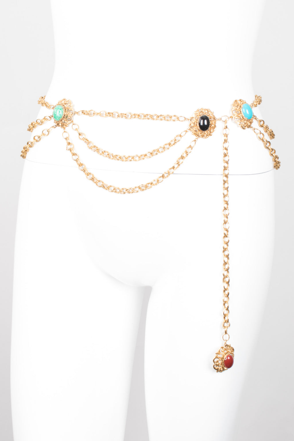 Florenza Polished Cabochon Tiered Chain Belt