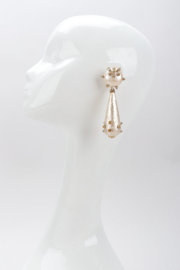 Recess Los Angeles Vintage Rare Bijoux Francoise Montague Crystal Champagne Macaron Drop Earrings