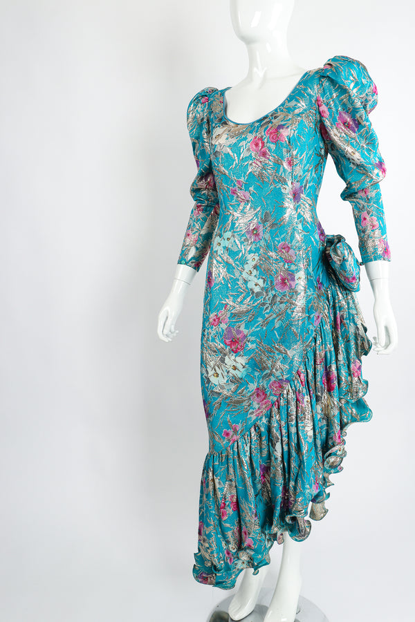 Vintage Frank Usher Asymmetrical Ruffle Hem Lamé Brocade Dress on Mannequin angle at Recess LA