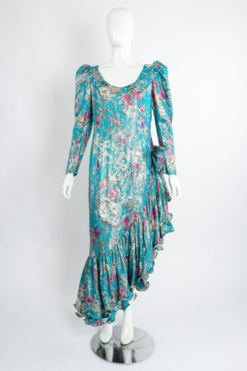 Vintage Frank Usher Asymmetrical Ruffle Hem Lamé Brocade Dress on Mannequin front unclipped at Recess LA