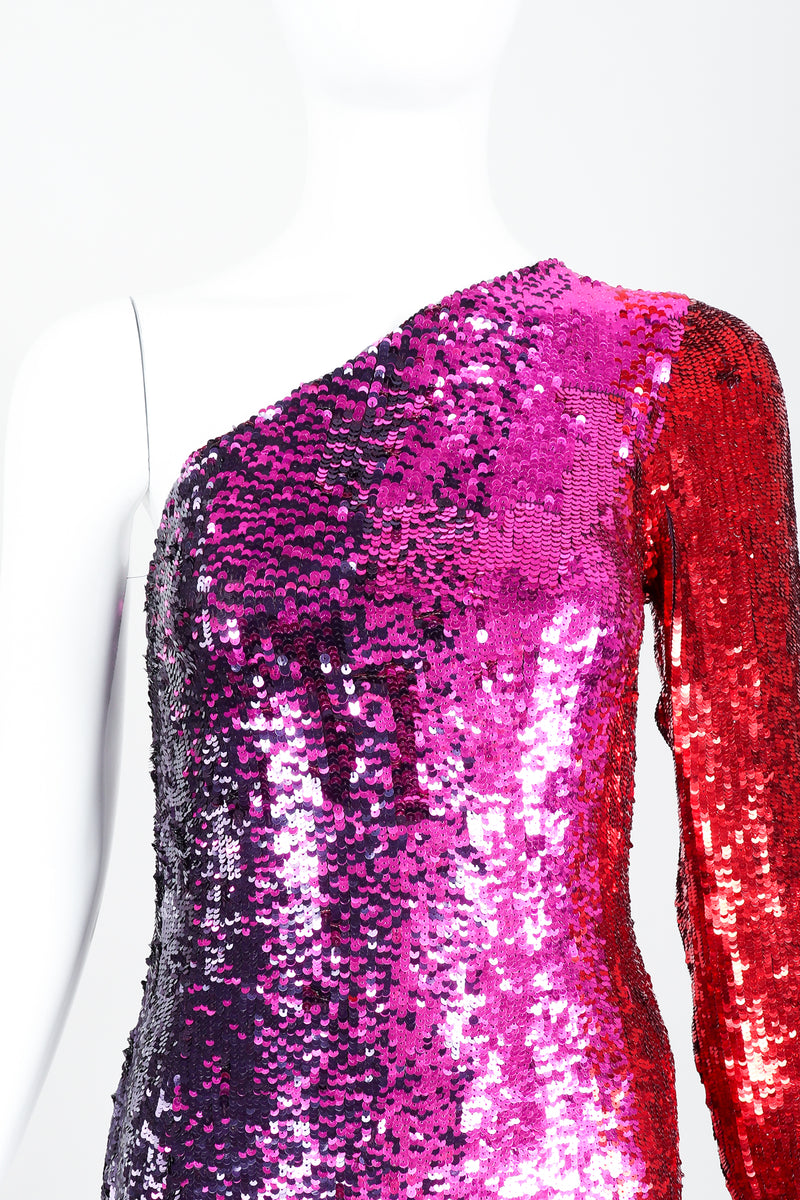 Vintage Frank Usher Ombré Red Pink Sequin One-Shoulder Gown on Mannequin front crop at Recess