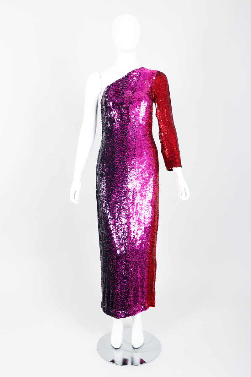 Vintage Frank Usher Ombré Red Pink Sequin One-Shoulder Gown on Mannequin front at Recess