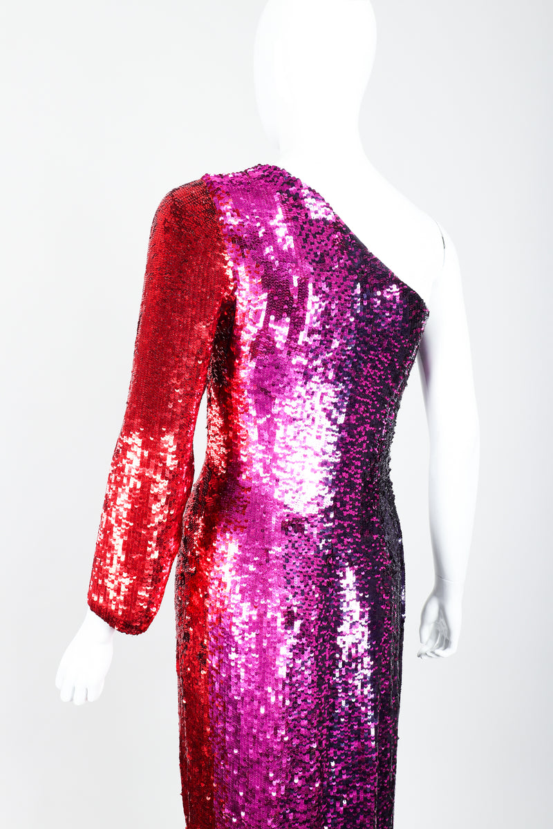 Vintage Frank Usher Ombré Red Pink Sequin One-Shoulder Gown on Mannequin back crop at Recess