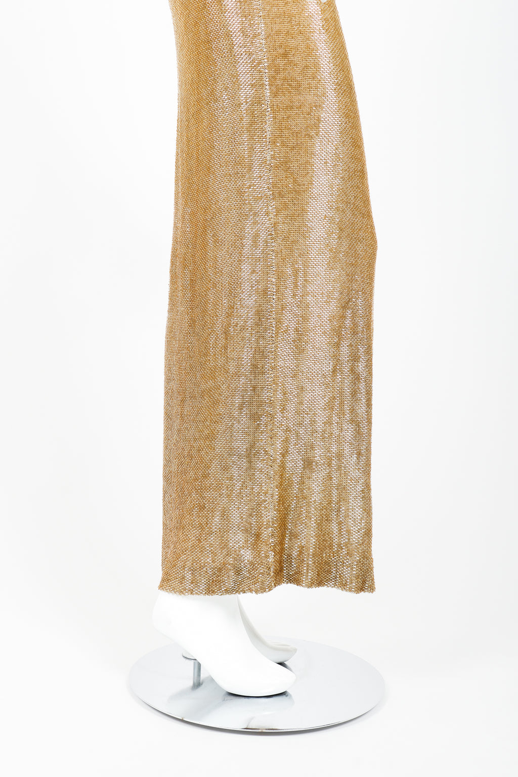 Vintage Fred Hayman Liquid Gold Beaded Gown on Mannequin skirt at Recess