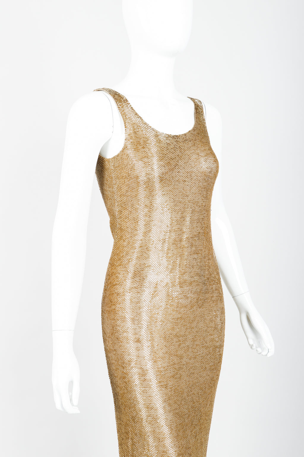 Vintage Fred Hayman Liquid Gold Beaded Gown on Mannequin Cropped at Recess