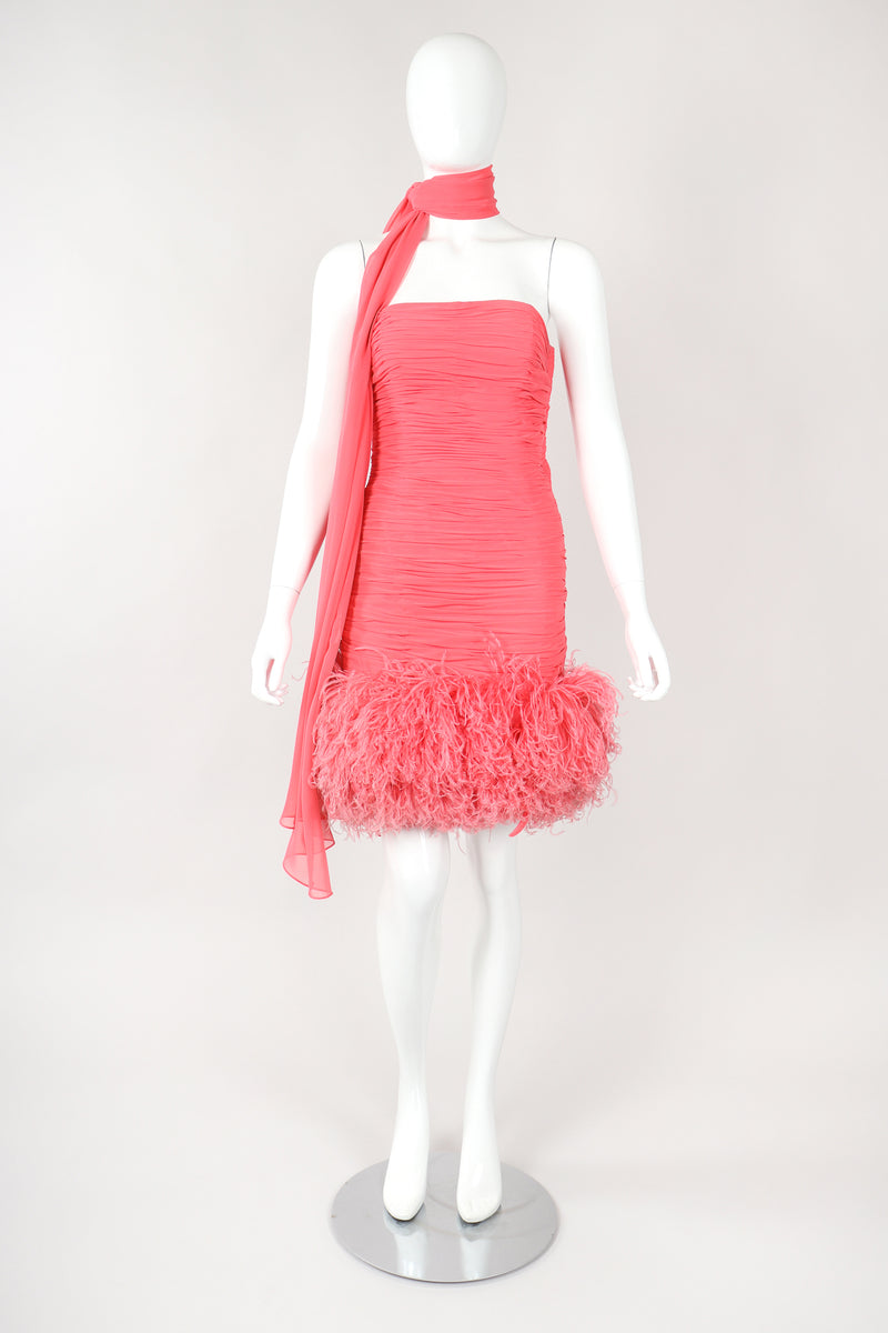Recess Designer Consignment Vintage Fred Hayman Hollywood Ruched Feather Cocktail Dress & Shawl Los Angeles Resale