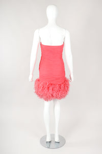 Recess Designer Consignment Vintage Fred Hayman Hollywood Ruched Feather Cocktail Dress & Shawl