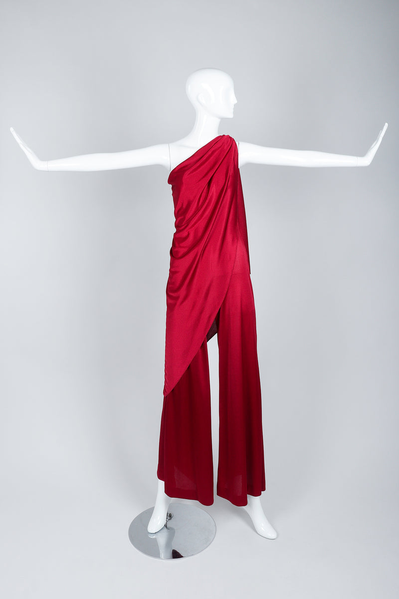 Vintage Frederick's of Hollywood Cranberry Draped Jersey Jumpsuit on Mannequin Front wide at Recess