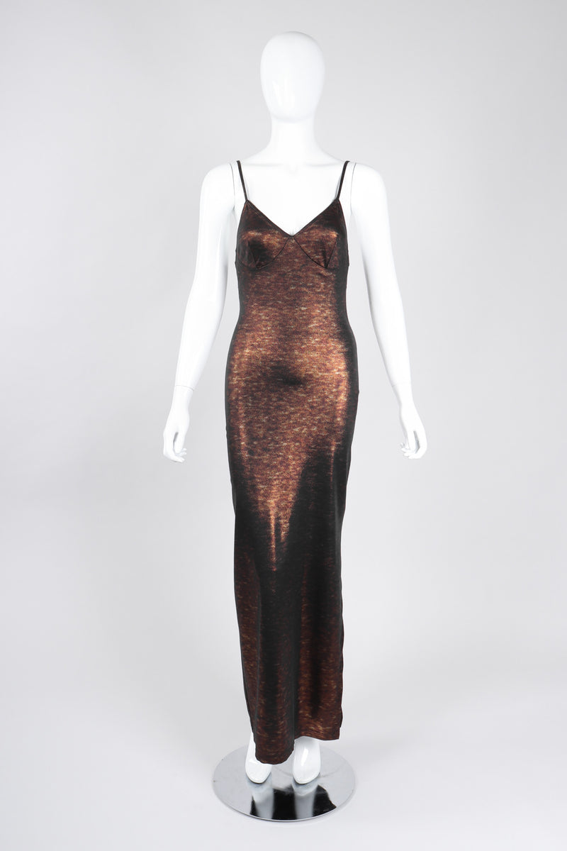 Recess Los Angeles Vintage Future Ozbek Metallic Lingerie Triangle Stretch Slip Dress