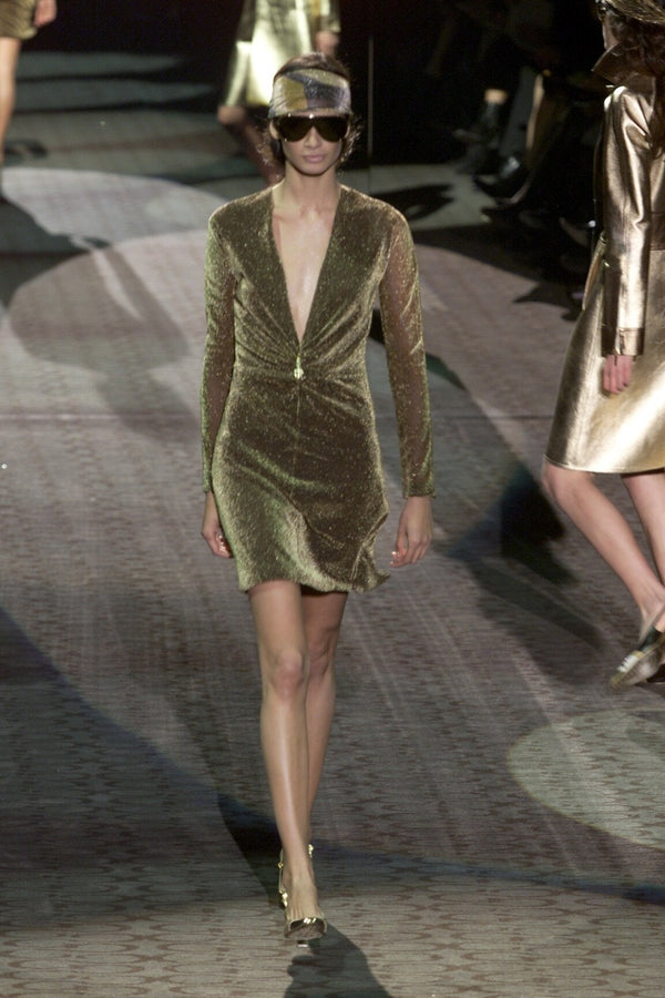 Vintage Gucci Tom Ford A/W 2000 runway Gold Lamé Dionysus Plunge Dress Recess LA