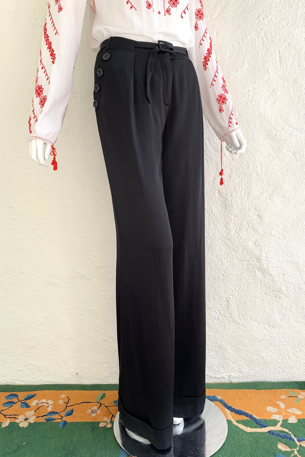 Vintage John Galliano Belted Silk Sailor Pant on Mannequin Angle at Recess Los Angeles