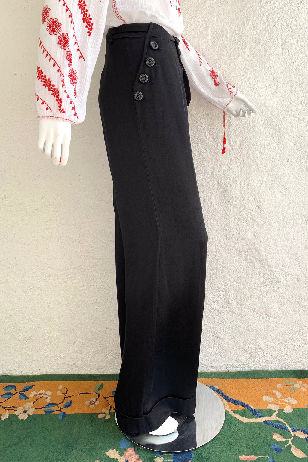 Vintage John Galliano Belted Silk Sailor Pant on Mannequin Side at Recess Los Angeles