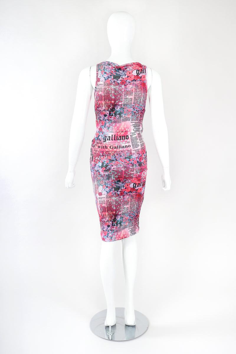 Recess Designer Consignment Vintage John Galliano Floral Newspaper Print Stretch Surplice Dress