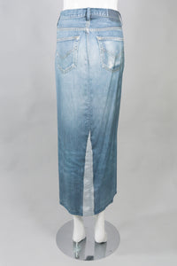 Jean Paul Gaultier Silk Denim Trompe L'Oeil Jean Skirt