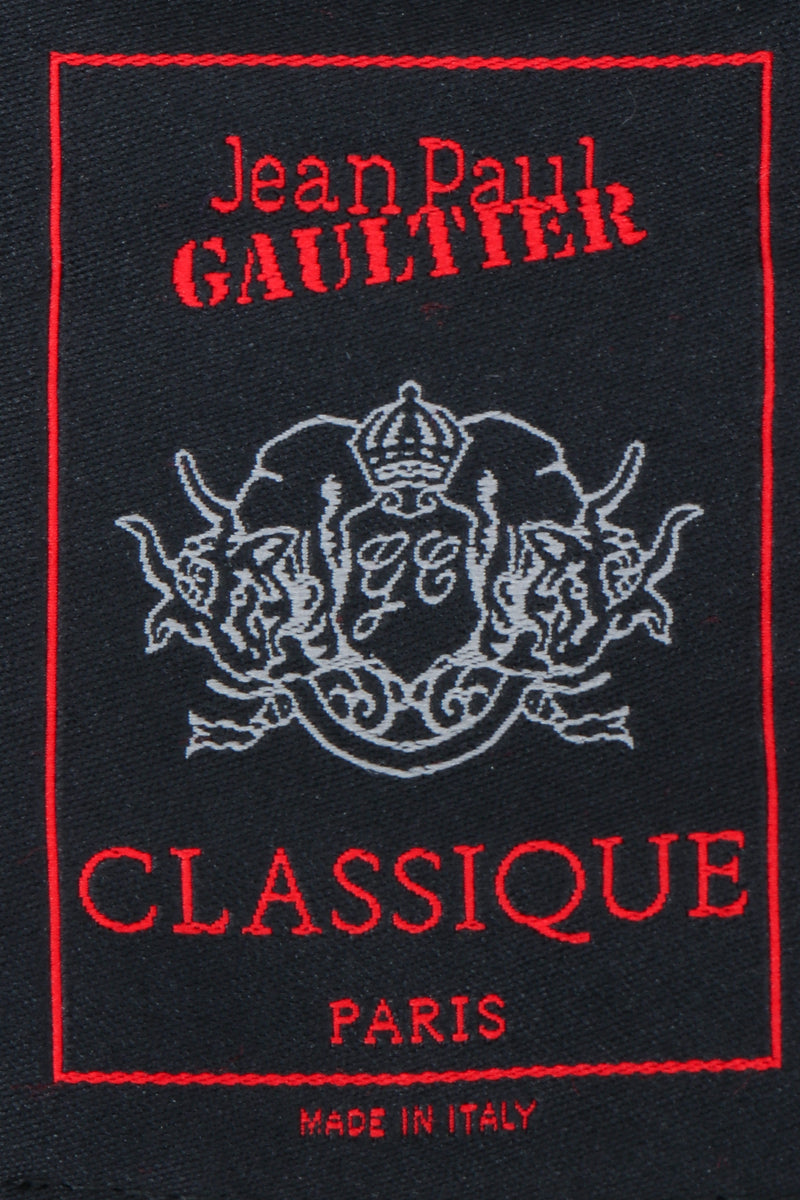 Vintage Jean Paul Gaultier Classique Grommet Strap Gown label on black