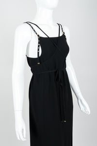 Vintage Jean Paul Gaultier Crepe Grommet Strap Gown w/ High Slit on Mannequin alt crop at Recess