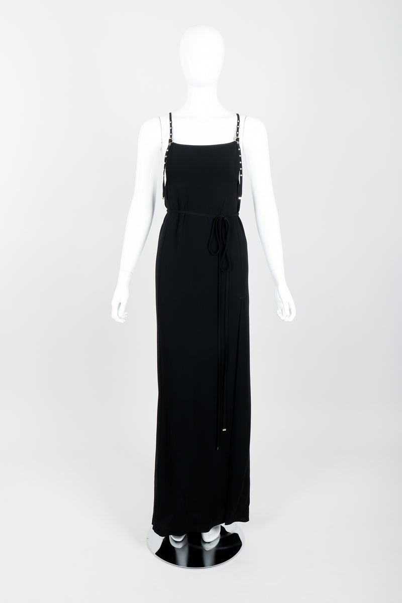 Vintage Jean Paul Gaultier Crepe Grommet Strap Gown w/ High Slit on Mannequin front at Recess