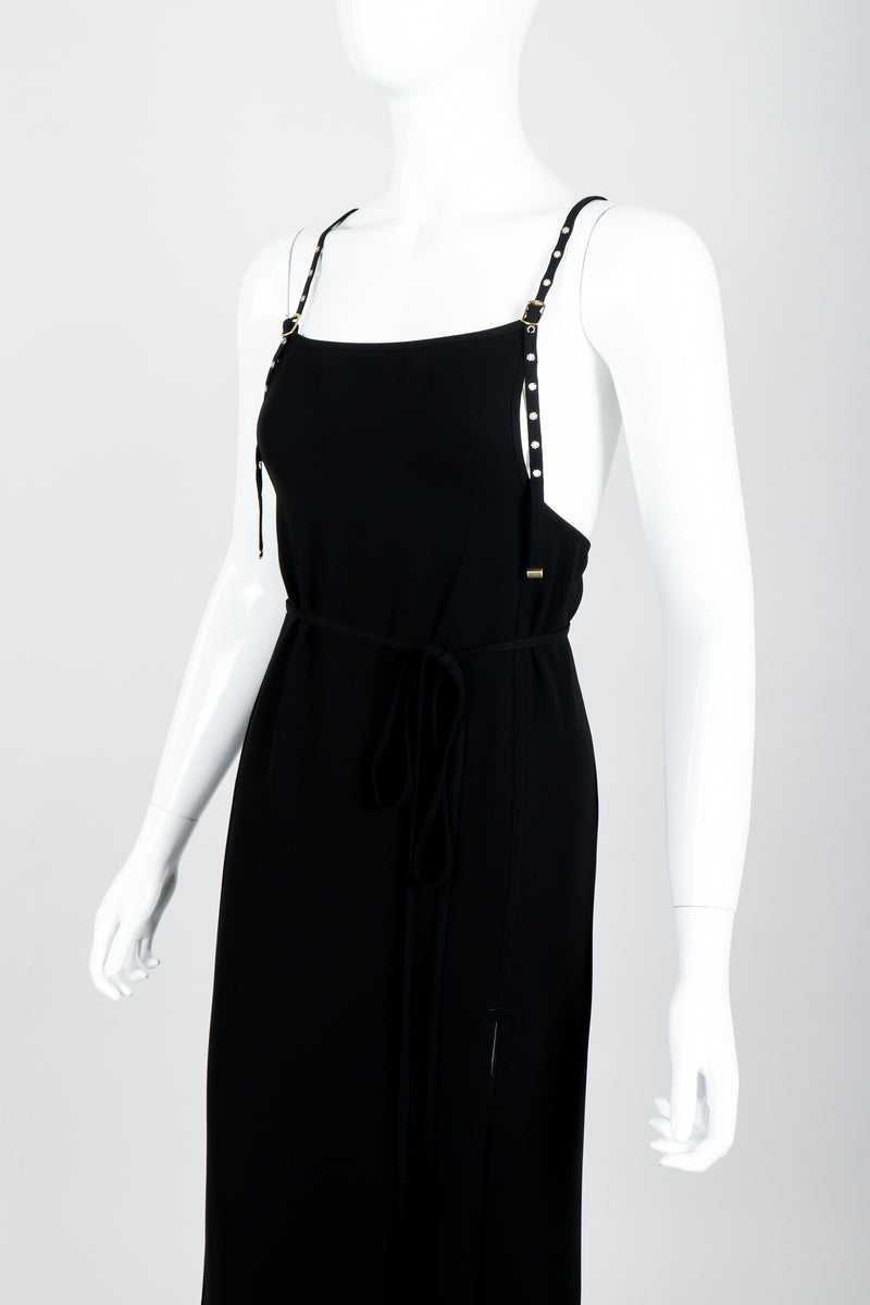 Vintage Jean Paul Gaultier Crepe Grommet Strap Gown w/ High Slit on Mannequin crop at Recess