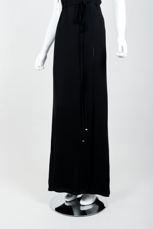 Vintage Jean Paul Gaultier Crepe Grommet Strap Gown w/ High Slit on Mannequin skirt at Recess
