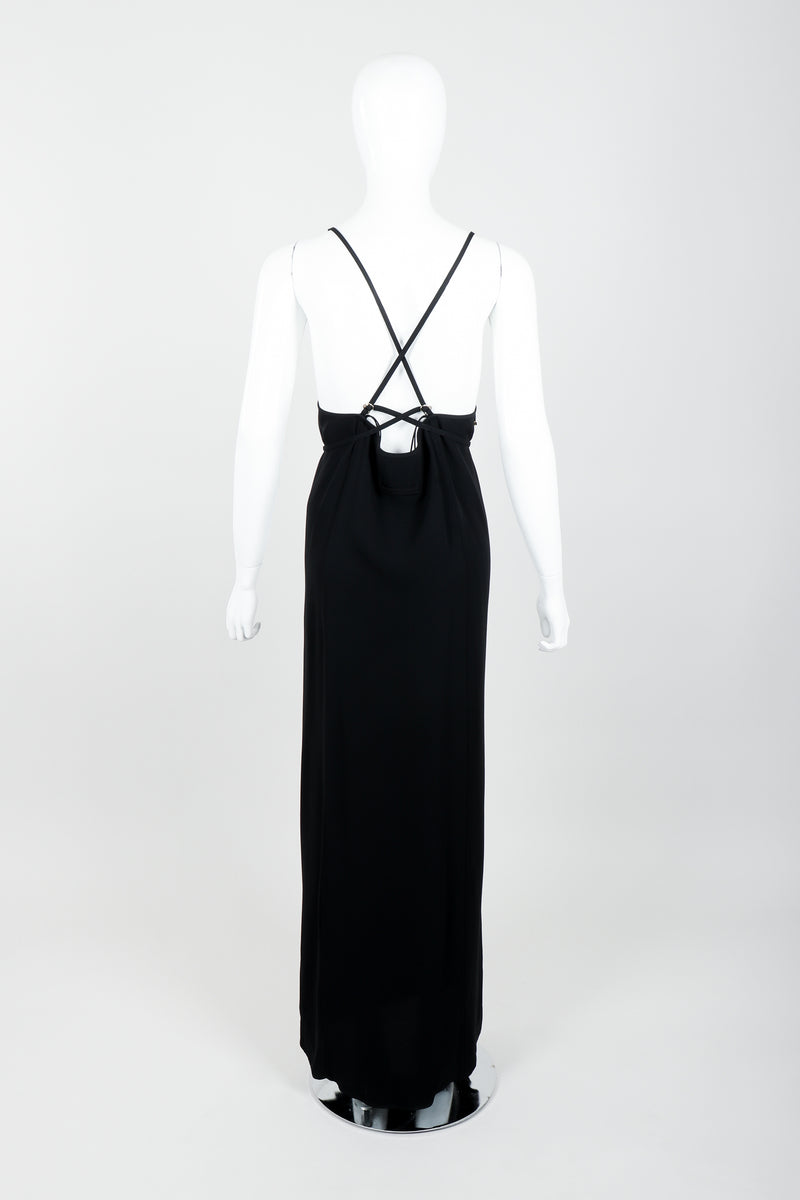 Vintage Jean Paul Gaultier Crepe Grommet Strap Gown w/ High Slit on Mannequin back at Recess