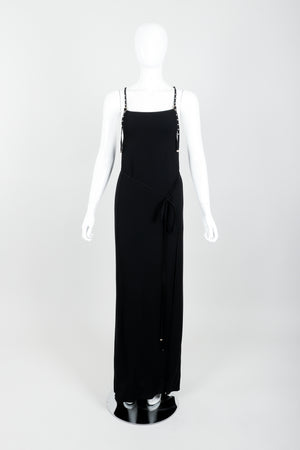 Vintage Jean Paul Gaultier Crepe Grommet Strap Gown w/ High Slit on Mannequin front untie at Recess