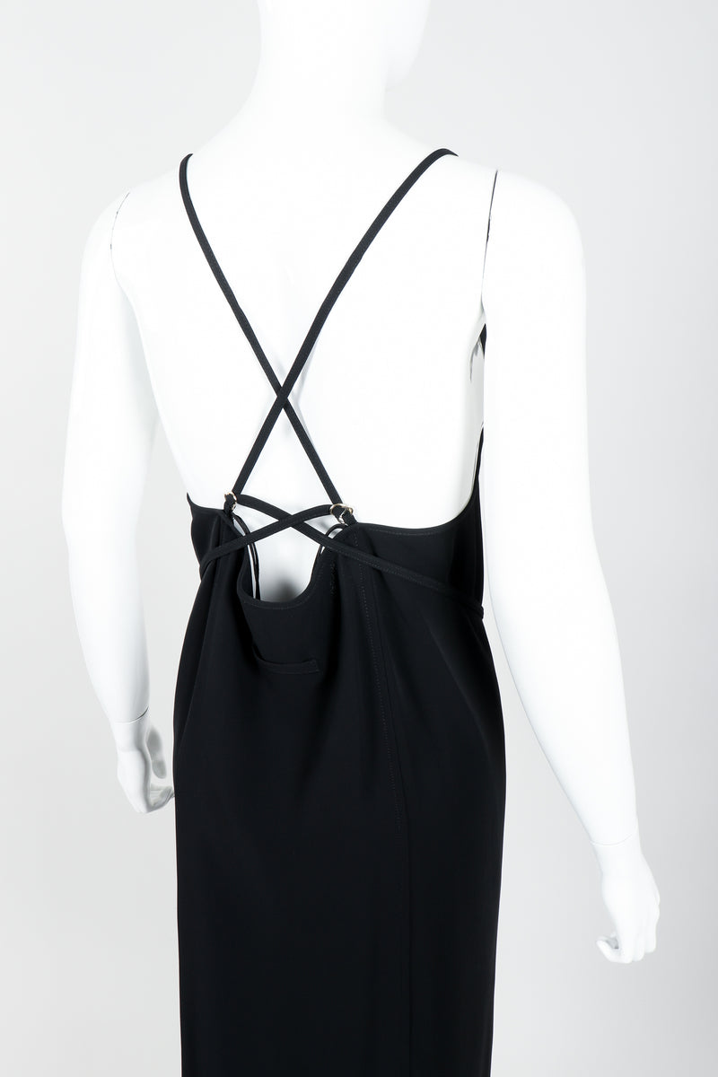 Vintage Jean Paul Gaultier Crepe Grommet Strap Gown w/ High Slit on Mannequin back crop at Recess