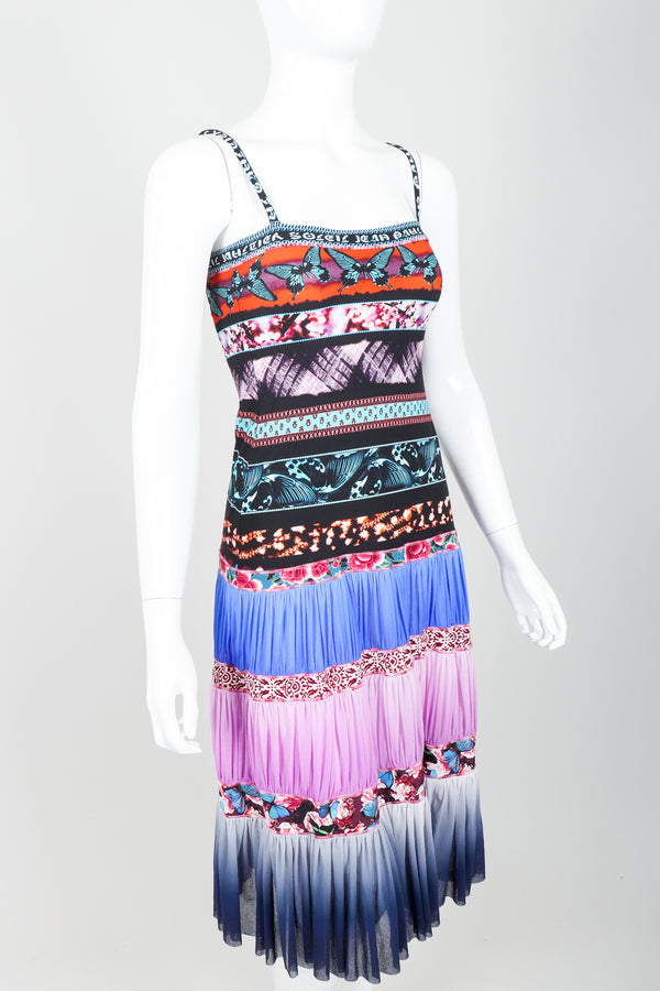 Vintage Jean Paul Gaultier Soleil Tiered Mesh Butterfly Dress on Mannequin angle crop at Recess