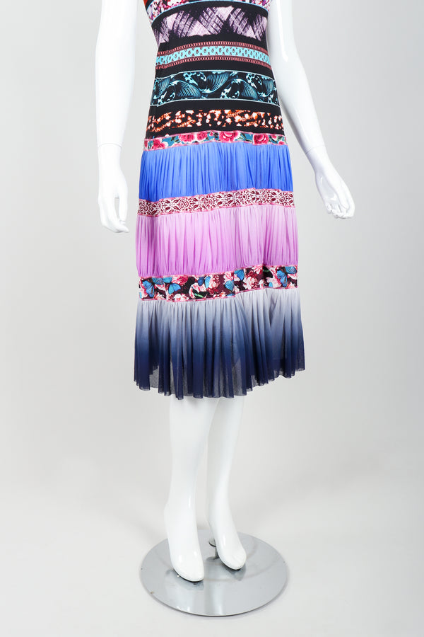 Vintage Jean Paul Gaultier Soleil Tiered Mesh Butterfly Dress on Mannequin skirt at Recess