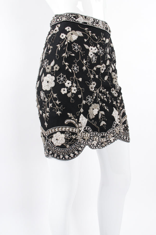 Vintage Genny Embellished Mesh Mini Skirt on mannequin angle at Recess Los Angeles