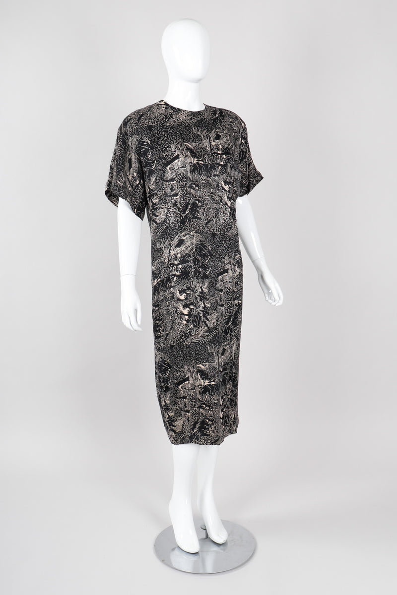 Recess Los Angeles Vintage Genny Silk Print Safari Scribble Dress