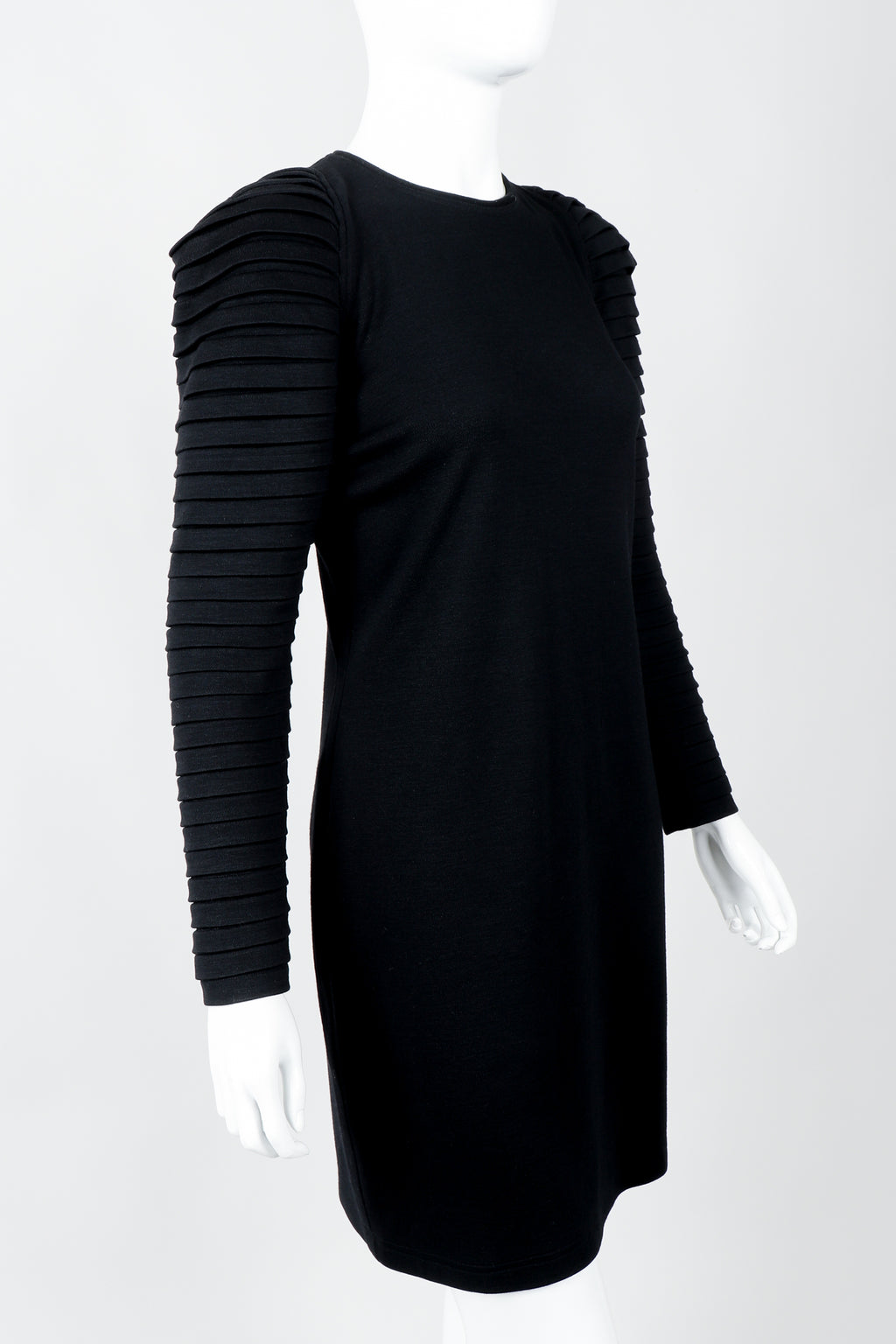 Vintage Genny Pleated Sleeve Bodycon Cocktail Dress on Mannequin side crop at Recess Los Angeles