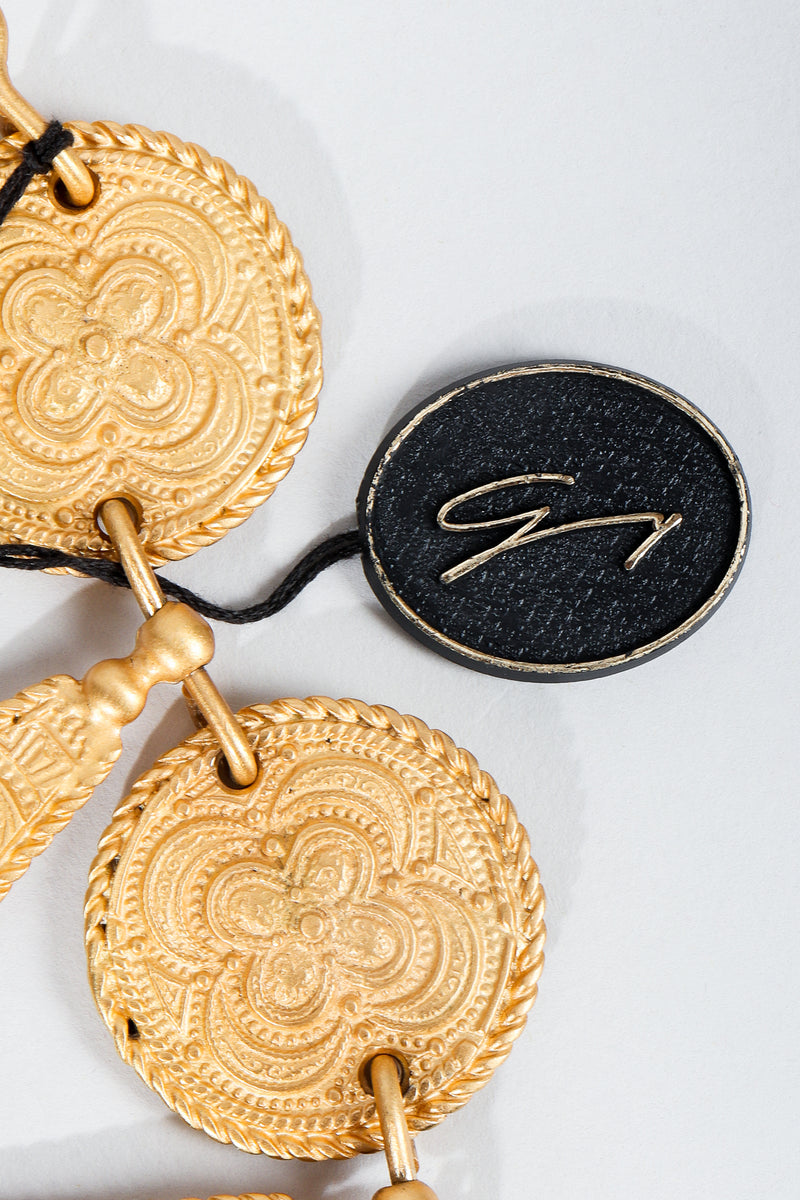 Vintage Genny Hangtag Charm label on matte gold necklace