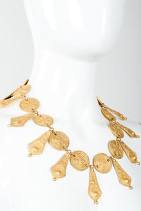 Vintage Genny Etruscan Matte Gold Pointed Collar Necklace on Mannequin at Recess