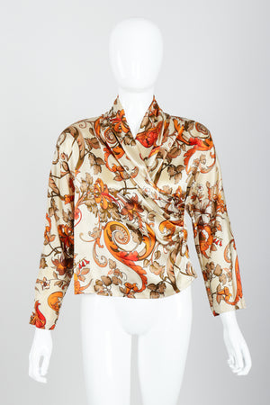Vintage Genny Satin Draped Faux Wrap Blouse on Mannequin front at Recess Los Angeles