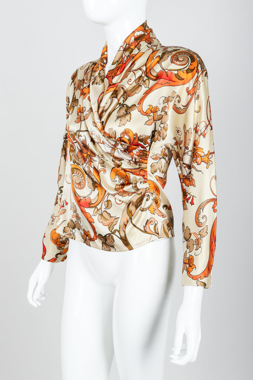 Vintage Genny Satin Draped Faux Wrap Blouse on Mannequin angle at Recess Los Angeles