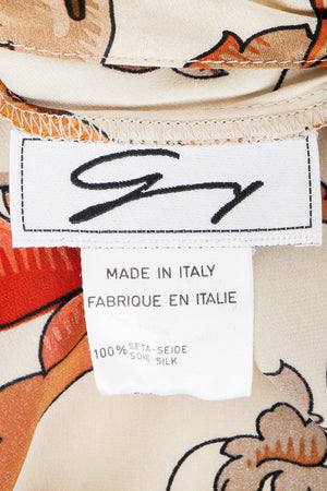 Vintage Genny Satin Draped Faux Wrap Blouse label on fabric at Recess Los Angeles