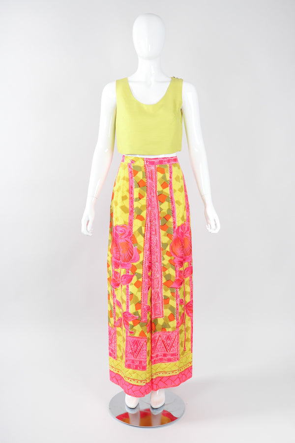 Recess Los Angeles Vintage Geno California Silk Tiki Rose Top & Skirt Set