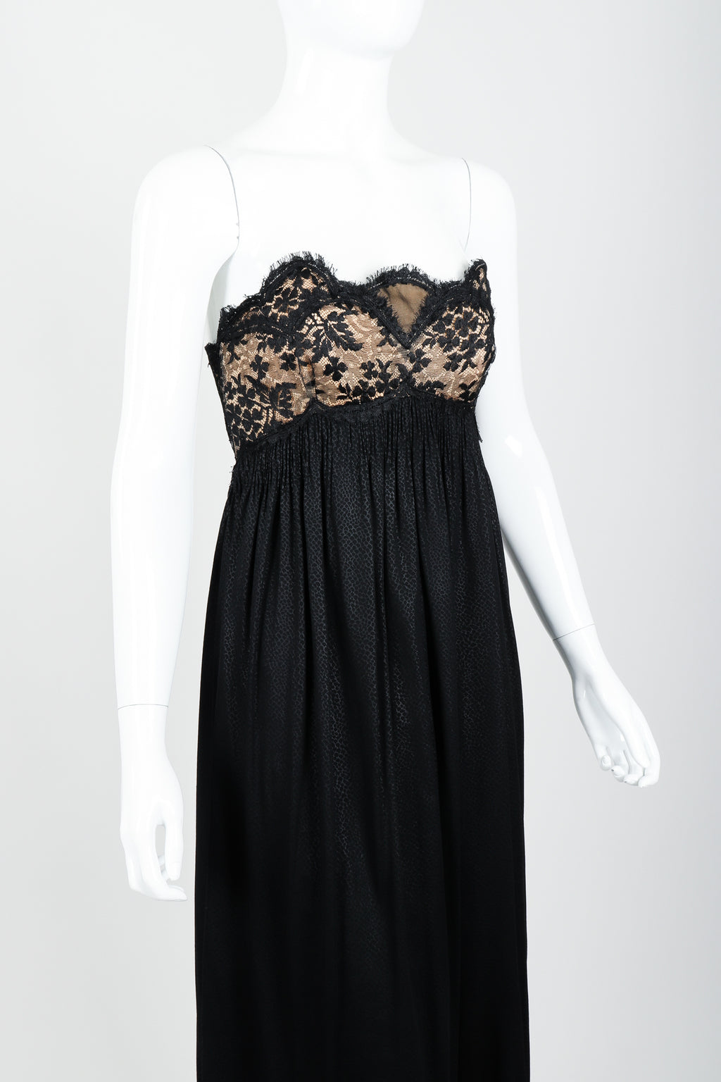 Vintage Geoffrey Beene Strapless Lace Empire Dress on Mannequin Crop at Recess Los Angeles