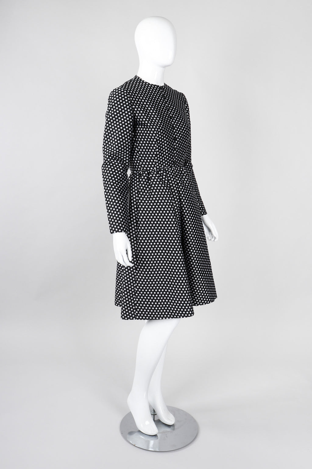Recess Los Angeles Vintage Geoffrey Beene B&W Silk Dot Dress