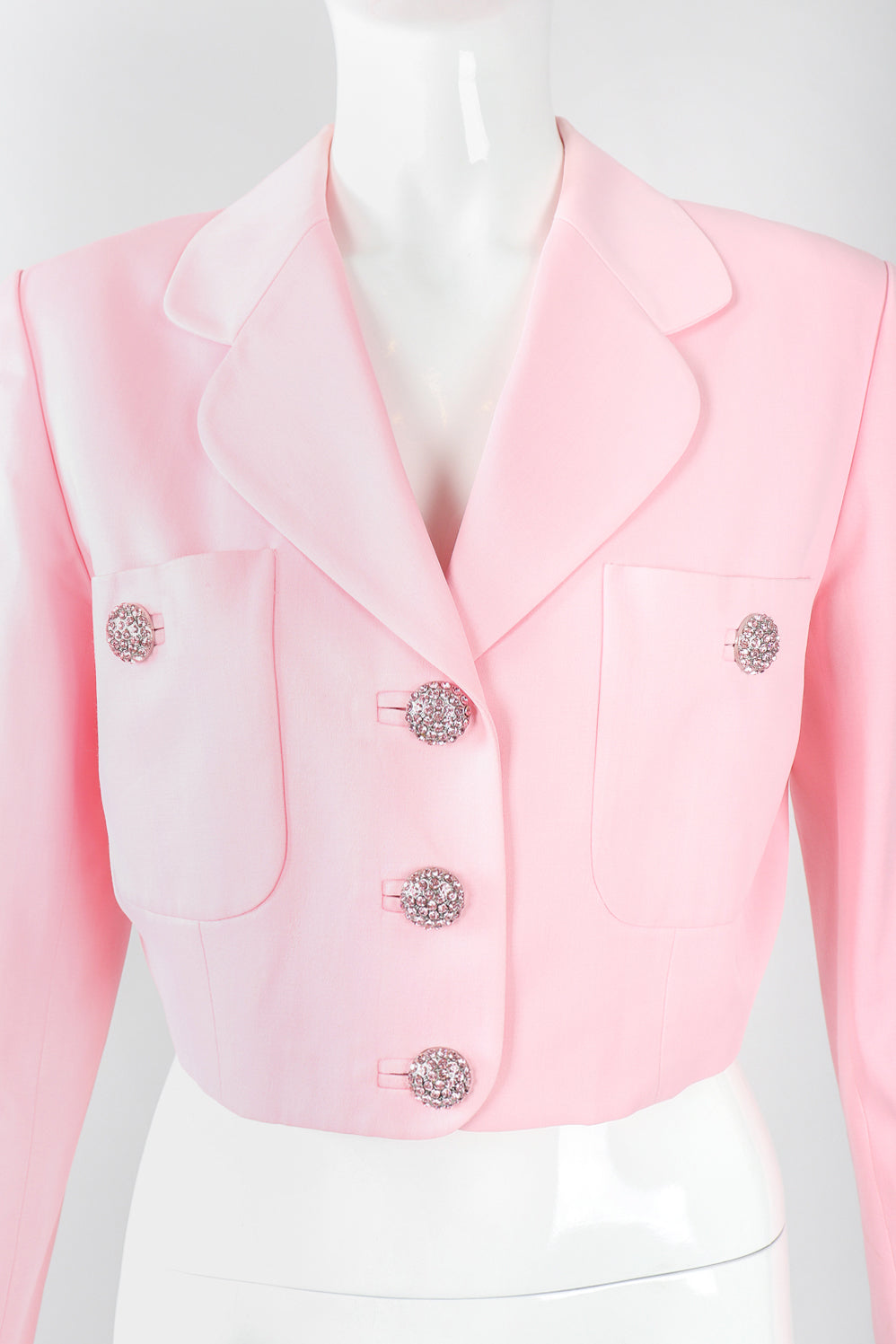 Recess Designer Consignment Vintage Georges Rech Millennial Pink Boxy Cropped Sateen Jacket Los Angeles Resale